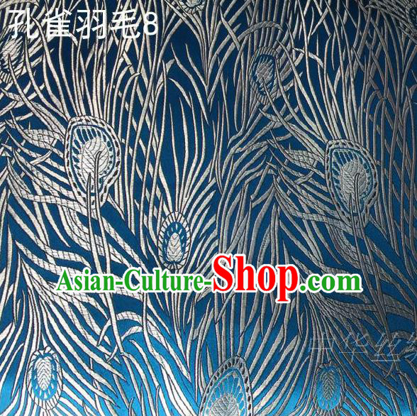 Asian Chinese Traditional Embroidery Peacock Feathers Blue Satin Wedding Silk Fabric, Top Grade Brocade Tang Suit Hanfu Dress Fabric Cheongsam Cloth Material