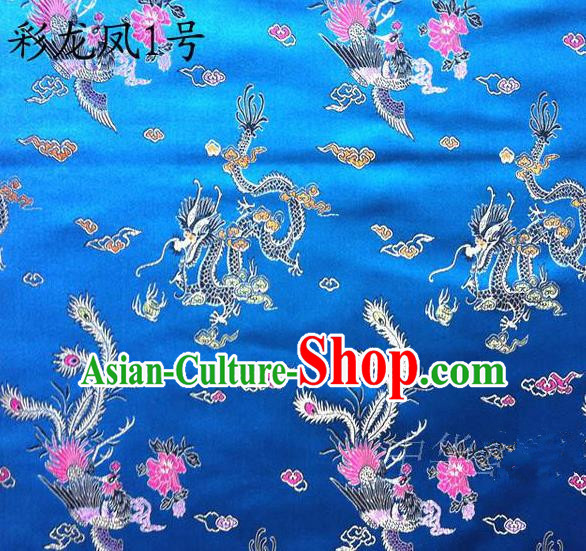 Asian Chinese Traditional Embroidery Colorful Dragon and Phoenix Bringing Prosperity Royalblue Satin Silk Fabric, Top Grade Tibetan Brocade Tang Suit Hanfu Fabric Cheongsam Cloth Material