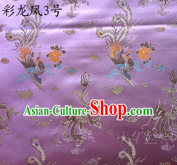 Asian Chinese Traditional Embroidery Dragon and Phoenix Bringing Prosperity Purple Satin Silk Fabric, Top Grade Tibetan Brocade Tang Suit Hanfu Fabric Cheongsam Cloth Material