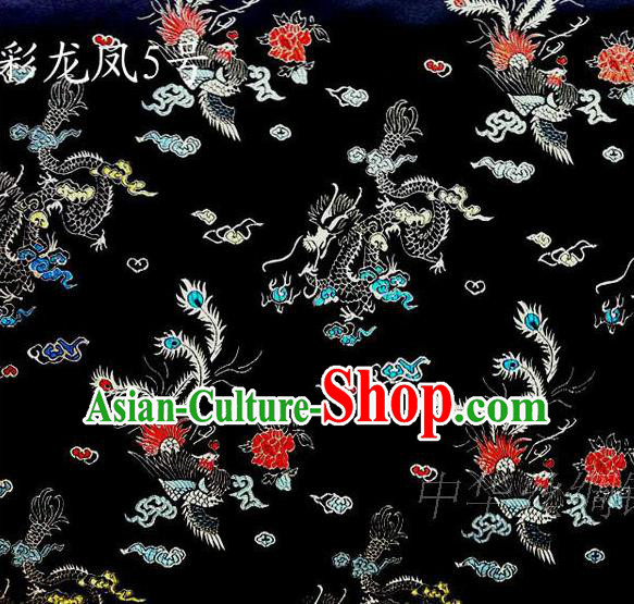 Asian Chinese Traditional Embroidery Dragon and Phoenix Bringing Prosperity Black Satin Silk Fabric, Top Grade Tibetan Brocade Tang Suit Hanfu Fabric Cheongsam Cloth Material