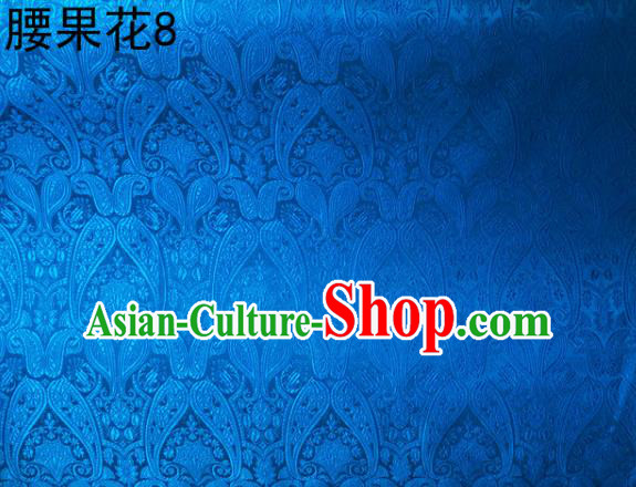 Asian Chinese Traditional Embroidery Paisley Blue Satin Wedding Silk Fabric, Top Grade Tibetan Brocade Tang Suit Hanfu Dress Fabric Cheongsam Cloth Material