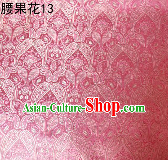 Asian Chinese Traditional Embroidery Paisley Pink Satin Wedding Silk Fabric, Top Grade Tibetan Brocade Tang Suit Hanfu Dress Fabric Cheongsam Cloth Material
