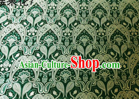 Asian Chinese Traditional Embroidery Paisley Green Satin Wedding Silk Fabric, Top Grade Tibetan Brocade Tang Suit Hanfu Dress Fabric Cheongsam Cloth Material