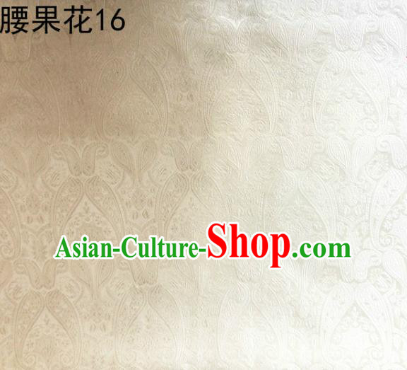 Asian Chinese Traditional Embroidery Paisley White Satin Wedding Silk Fabric, Top Grade Tibetan Brocade Tang Suit Hanfu Dress Fabric Cheongsam Cloth Material