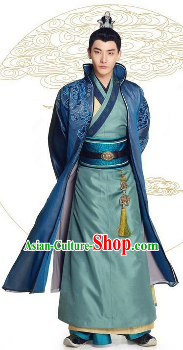 Asian Chinese Northern and Southern Dynasty Nobility Childe Costume and Headpiece Complete Set, China Ancient Elegant Hanfu Prince Embroidered Robes