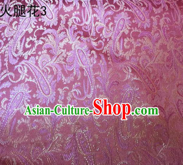Asian Chinese Traditional Handmade Embroidery Ham Flowers Satin Wedding Silk Fabric, Top Grade Nanjing Brocade Tang Suit Hanfu Fabric Cheongsam Pink Cloth Material