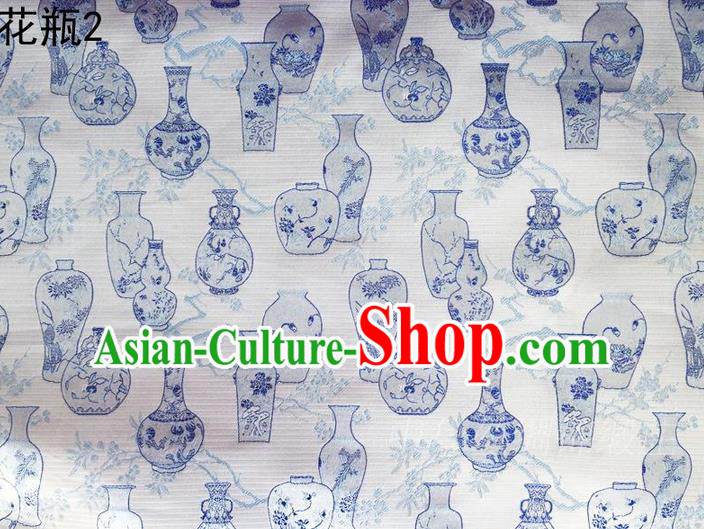 Traditional Asian Chinese Handmade Embroidery Blue Vase Satin Blue Silk Fabric, Top Grade Nanjing Brocade Tang Suit Hanfu Clothing Fabric Cheongsam Cloth Material
