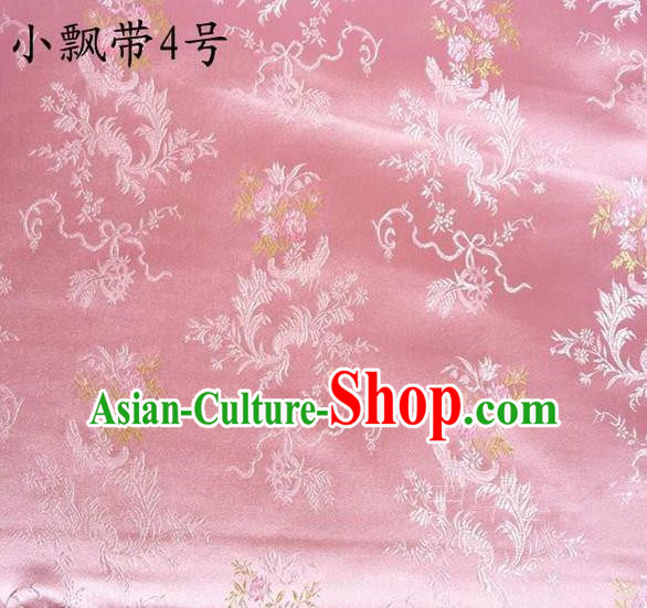 Traditional Asian Chinese Handmade Embroidery Flowers Ribbons Satin Pink Silk Fabric, Top Grade Nanjing Brocade Tang Suit Hanfu Clothing Fabric Cheongsam Cloth Material