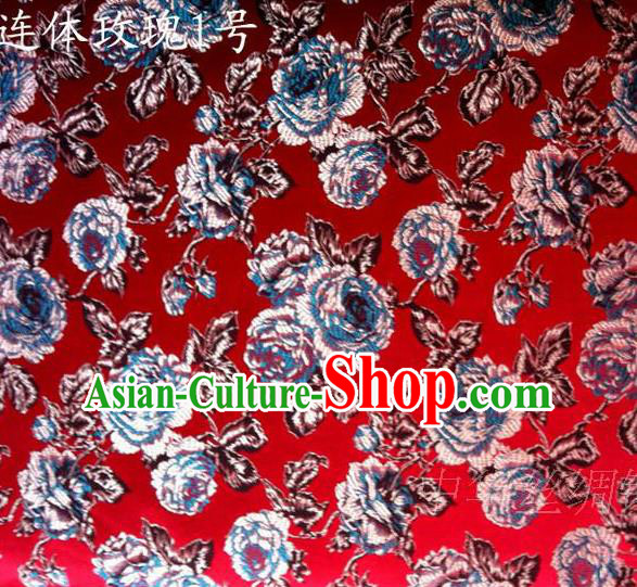 Traditional Asian Chinese Handmade Printing Roses Flowers Satin Red Silk Fabric, Top Grade Nanjing Brocade Tang Suit Hanfu Clothing Fabric Cheongsam Cloth Material
