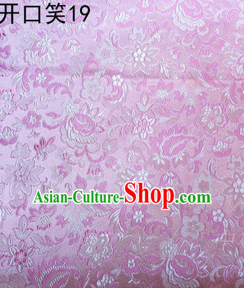 Traditional Asian Chinese Handmade Embroidery Flowers Satin Pink Silk Fabric, Top Grade Nanjing Brocade Tang Suit Hanfu Wedding Clothing Fabric Cheongsam Cloth Material