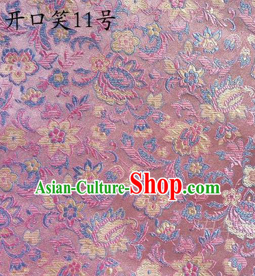 Traditional Asian Chinese Handmade Embroidery Colorful Flowers Satin Pink Silk Fabric, Top Grade Nanjing Brocade Tang Suit Hanfu Wedding Clothing Fabric Cheongsam Cloth Material