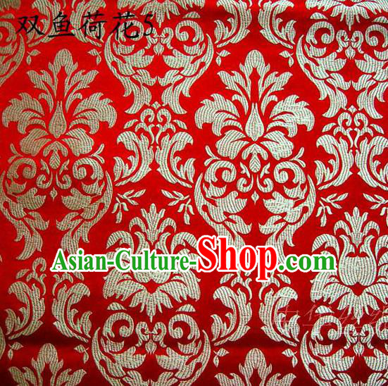 Traditional Asian Chinese Handmade Embroidery Lotus Flowers Fishes Satin Red Silk Fabric, Top Grade Nanjing Brocade Tang Suit Hanfu Wedding Tibetan Clothing Fabric Cheongsam Cloth Material