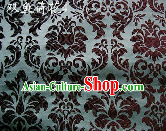 Traditional Asian Chinese Handmade Embroidery Lotus Flowers Fishes Satin Grey Silk Fabric, Top Grade Nanjing Brocade Tang Suit Hanfu Wedding Tibetan Clothing Fabric Cheongsam Cloth Material