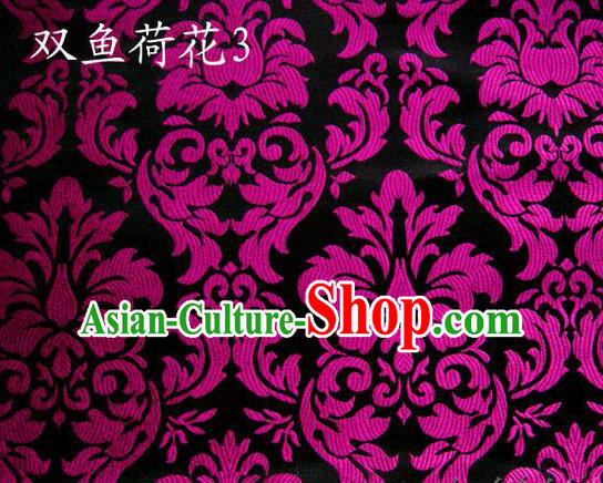 Traditional Asian Chinese Handmade Embroidery Purple Lotus Flowers Fishes Satin Black Silk Fabric, Top Grade Nanjing Brocade Tang Suit Hanfu Wedding Tibetan Clothing Fabric Cheongsam Cloth Material