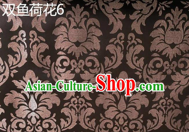 Traditional Asian Chinese Handmade Embroidery Lotus Flowers Fishes Satin Brown Silk Fabric, Top Grade Nanjing Brocade Tang Suit Hanfu Wedding Tibetan Clothing Fabric Cheongsam Cloth Material