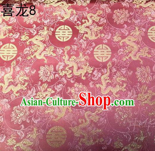 Traditional Asian Chinese Handmade Embroidery Happiness Dragon Satin Pink Silk Fabric, Top Grade Nanjing Brocade Tang Suit Hanfu Tibetan Clothing Fabric Cheongsam Cloth Material