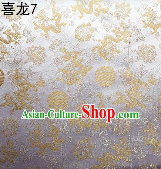 Traditional Asian Chinese Handmade Embroidery Happiness Dragon Satin Sliver Silk Fabric, Top Grade Nanjing Brocade Tang Suit Hanfu Tibetan Clothing Fabric Cheongsam Cloth Material