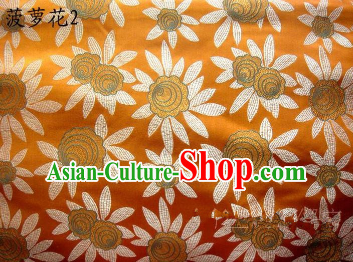 Traditional Asian Chinese Handmade Embroidery Pineapple Flowers Satin Yellow Silk Fabric, Top Grade Nanjing Brocade Tang Suit Hanfu Tibetan Clothing Fabric Cheongsam Cloth Material