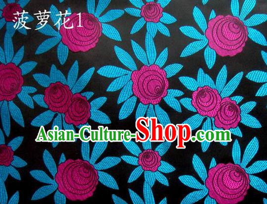 Traditional Asian Chinese Handmade Embroidery Pineapple Flowers Satin Black Silk Fabric, Top Grade Nanjing Brocade Tang Suit Hanfu Tibetan Clothing Fabric Cheongsam Cloth Material