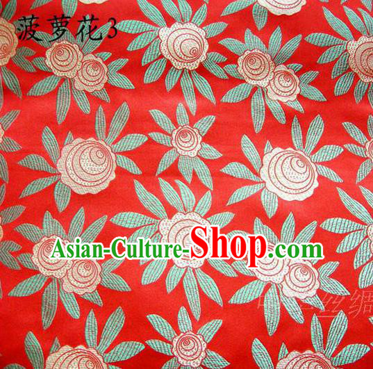 Traditional Asian Chinese Handmade Embroidery Pineapple Flowers Satin Red Silk Fabric, Top Grade Nanjing Brocade Tang Suit Hanfu Tibetan Clothing Fabric Cheongsam Cloth Material