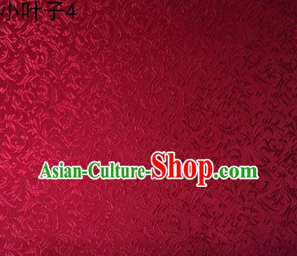 Traditional Asian Chinese Handmade Embroidery Wheat Leaf Satin Silk Fabric, Top Grade Nanjing Wine Red Brocade Tang Suit Hanfu Clothing Fabric Cheongsam Cloth Material