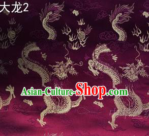 Traditional Asian Chinese Handmade Embroidery Dragons Satin Tang Suit Wine Red Silk Fabric, Top Grade Nanjing Brocade Ancient Costume Hanfu Clothing Fabric Cheongsam Cloth Material