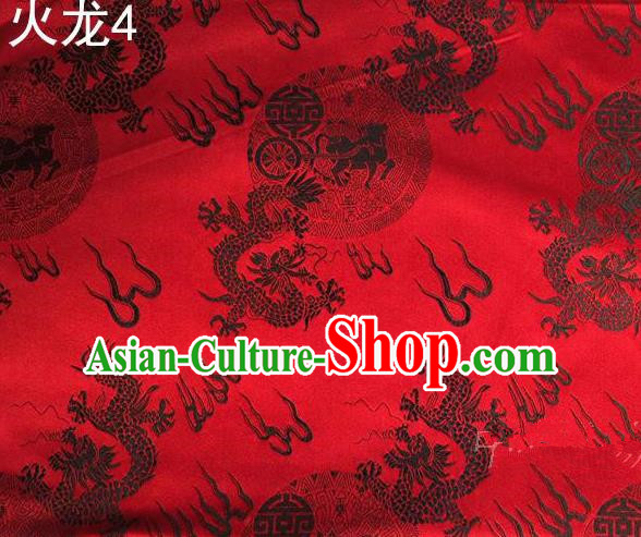 Traditional Asian Chinese Handmade Embroidery Fire Dragons Satin Tang Suit Wine Red Silk Fabric, Top Grade Nanjing Brocade Ancient Costume Hanfu Clothing Fabric Cheongsam Cloth Material
