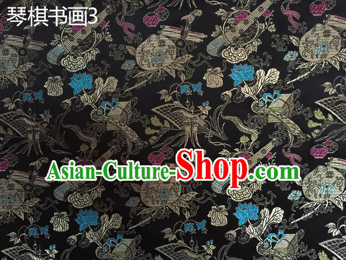 Traditional Asian Chinese Handmade Embroidery Wine Bottles Silk Satin Tang Suit Black Fabric Drapery, Nanjing Brocade Ancient Costume Hanfu Cheongsam Cloth Material