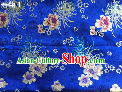 Traditional Asian Chinese Handmade Embroidery Marguerite Flowers Silk Satin Tang Suit Blue Fabric Drapery, Nanjing Brocade Ancient Costume Hanfu Cheongsam Cloth Material