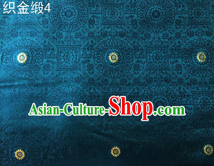 Traditional Asian Chinese Handmade Embroidery Silk Tapestry Satin Tang Suit Peacock Blue Fabric Drapery, Nanjing Brocade Ancient Costume Hanfu Cheongsam Cloth Material