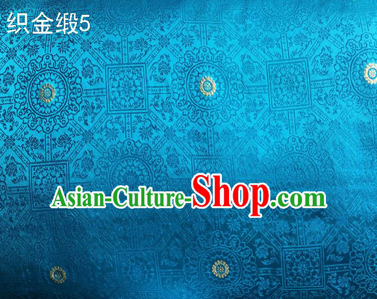 Traditional Asian Chinese Handmade Embroidery Silk Tapestry Satin Tang Suit Blue Fabric Drapery, Nanjing Brocade Ancient Costume Hanfu Cheongsam Cloth Material