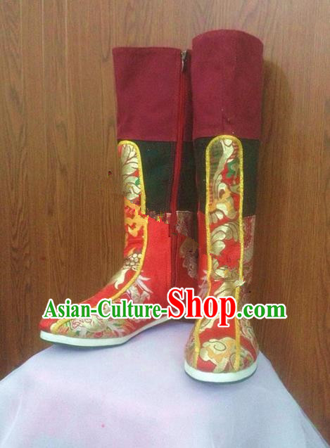 Traditional Chinese Mongol Nationality Shoes, Mongols Dance Ethnic Mongolian Minority Nationality Embroidery Boots for Men