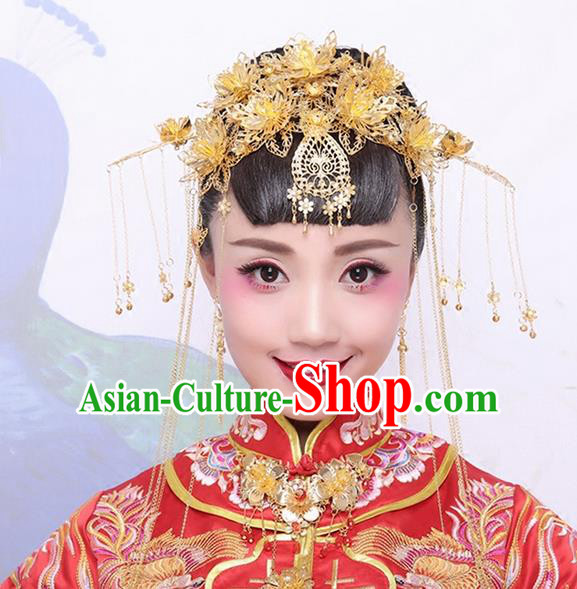 Asian Chinese Ancient Style Hair Jewelry Accessories Wedding Headwear, Hanfu Xiuhe Suits Bride Imperial Empress Handmade Phoenix Coronet Complete Set for Women