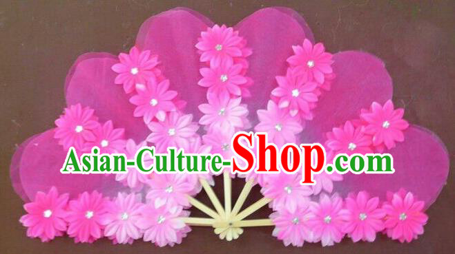 Pure Silk Traditional Chinese Fans Oriental Flowers Folding Fan Folk Korean Dance Cultural Yangko Dance Hand Fan