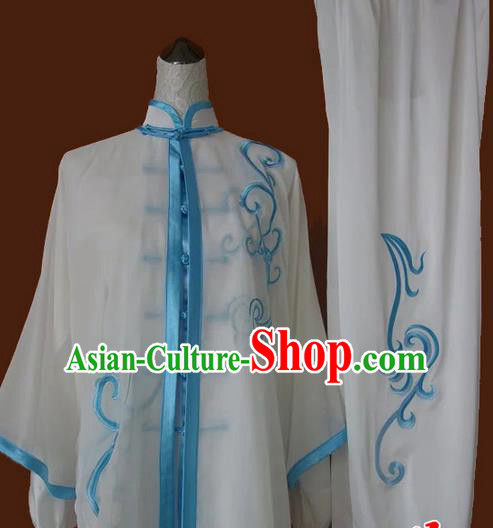 Asian Chinese Top Grade Silk Kung Fu Costume Martial Arts Tai Chi Training Suit, China Gongfu Shaolin Wushu Embroidery Dragon Embroidery Blue Uniform for Men