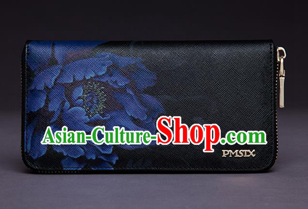 Traditional Handmade Asian Chinese Element Printing Peony Wallet National Handbag Black Purse for Women