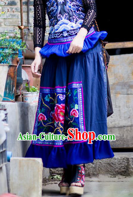 Traditional Chinese National Costume Half Skirt, Elegant Hanfu Embroidered Tang Suit Bust Skirt for Women