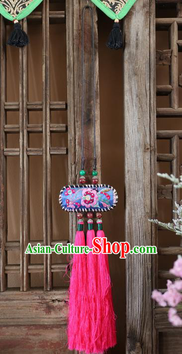 Traditional Handmade Chinese National Miao Nationality Tassel Embroidery Necklace Pendant for Women