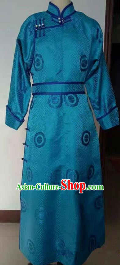 Traditional Chinese Mongol Nationality Dance Costume Mongol Robe, China Mongolian Minority Nationality Clothing for Men