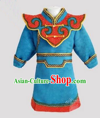 Traditional Chinese Mongol Nationality Dance Costume Handmade Blue Mongolian Robe, China Mongolian Minority Nationality Children Clothing