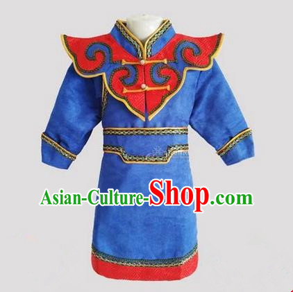 Traditional Chinese Mongol Nationality Dance Costume Handmade Royalblue Mongolian Robe, China Mongolian Minority Nationality Children Clothing