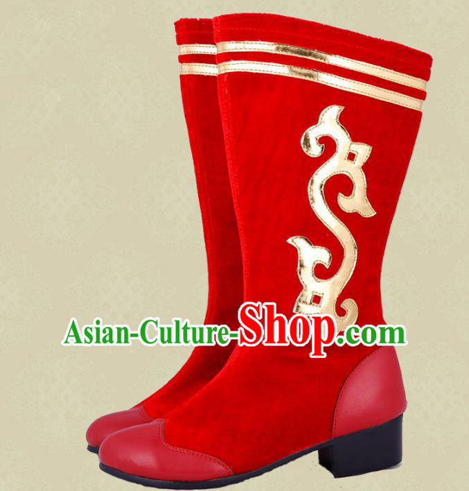 Traditional Chinese Minority Mongol Nationality Dance White Shoes, Ethnic Minorities Red Mongolian Boots for Women
