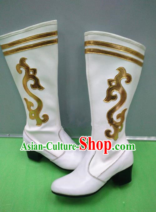 Traditional Chinese Minority Mongol Nationality Dance White Leather Shoes, Ethnic Minorities Mongolian Boots for Women
