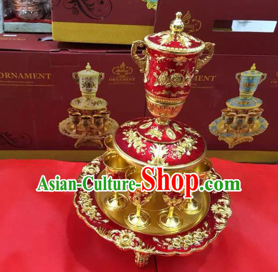 Traditional Handmade Chinese Mongol Nationality Crafts Red Wine Set, China Mongolian Minority Nationality Cloisonne Carving Flagon and Drinking Cup