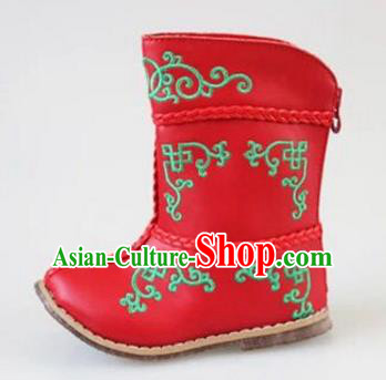 Traditional Chinese Minority Mongol Nationality Dance Shoes, Ethnic Minorities Mongolian Boots Red Embroidery Boots for Kids