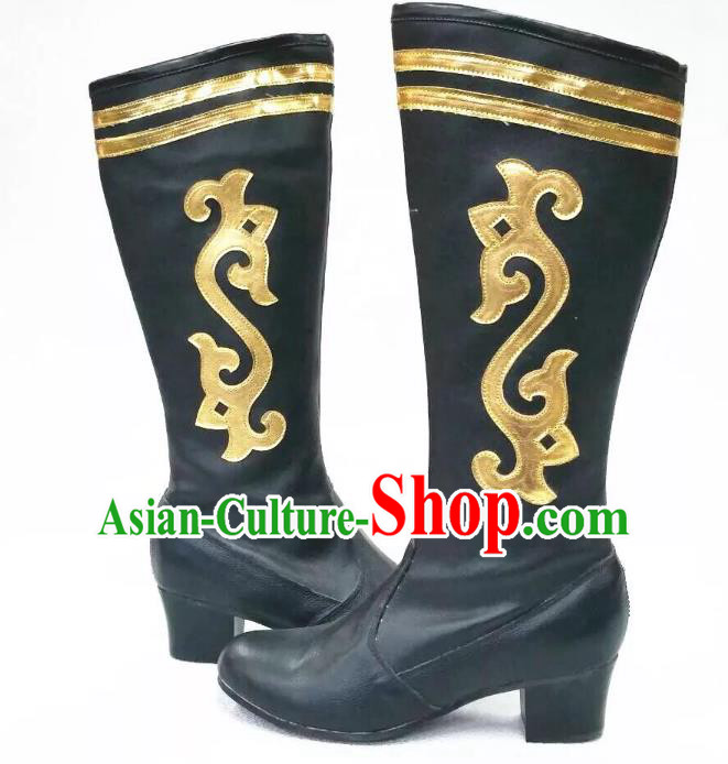 Traditional Chinese Minority Mongol Nationality Ethnic Minorities Mongolian Boots Black Wedding Boots for Women
