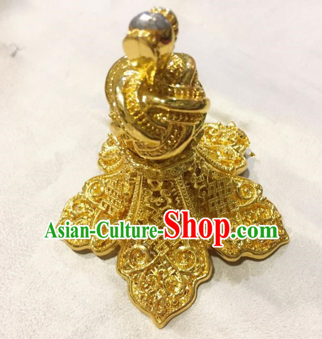 Traditional Handmade Chinese Mongol Nationality Hat Accessories, China Mongols Mongolian Minority Nationality Golden Trapping Headpiece