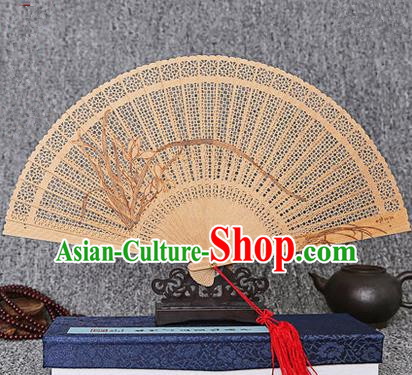 Traditional Chinese Handmade Crafts Sandalwood Folding Fan, China Classical Orchid Sensu Hollow Out Wood Fan Hanfu Fans for Women