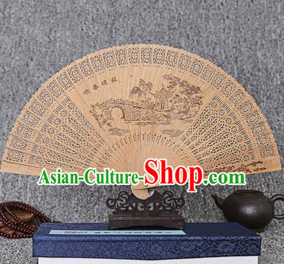 Traditional Chinese Handmade Crafts Sandalwood Folding Fan, China Classical West Lake Spring Scenery Sensu Hollow Out Wood Fan Hanfu Fans for Women