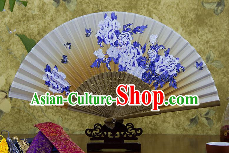 Traditional Chinese Handmade Crafts Hand Painting Butterfly Flowers Folding Fan, China Classical Orange Sensu Silk Fan Hanfu Fans for Women
